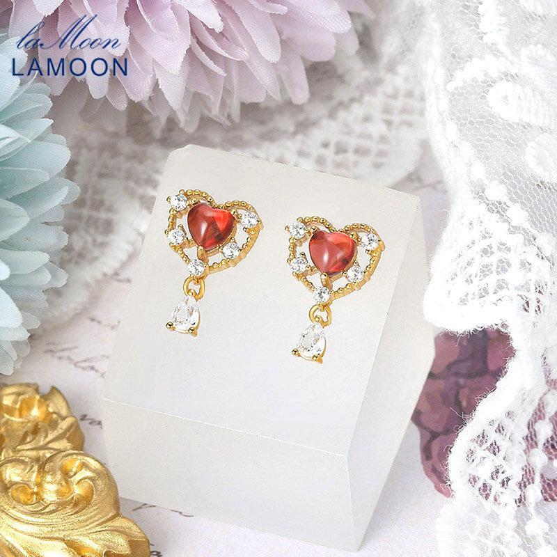 Bolzenlamoon Anime Vive Sweety Heart 925 Silber Ohrring für Frauen Natural Granat Edelstein 14k Gold Überzogene Feinschmuck LMEI134