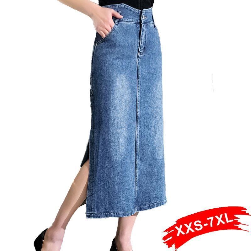 Юбки плюс размер винтажные нерегулярные талии боковых сплит джинсовые джинсы 4XL 7xL женские уличные одежды средняя длина