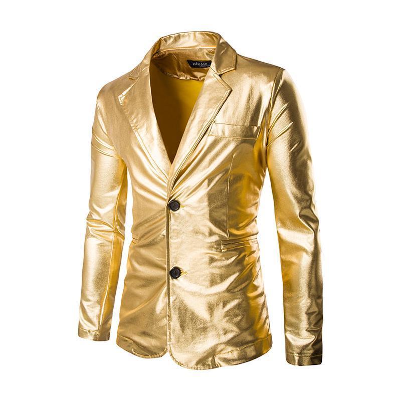Men's Suits & Blazers Men Stylish Shiny Gold Coated Metallic Suit Jacket Slim Fit Single Breasted Blazer Party Wedding Nightclub Singers