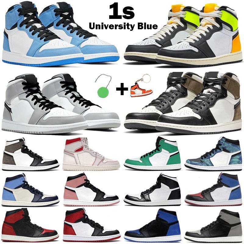 Nuevas zapatillas de baloncesto para hombre y mujer 1s High OG jumpman air jordan 1 University Blue Mid Light Smoke Grey Chicago Dark Mocha Twist Obsidian men sneakers