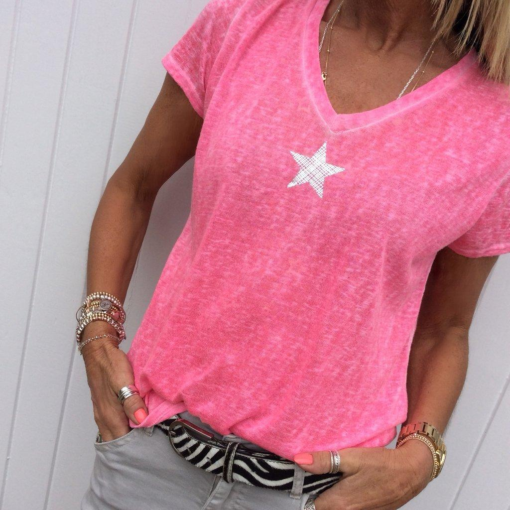 V Yaka Kısa Kollu Rahat Pentagram Baskı T Gömlek Kadın Yaz Artı Boyutu Tops Tshirt T-shirt Tee Gömlek Femme S- 210312