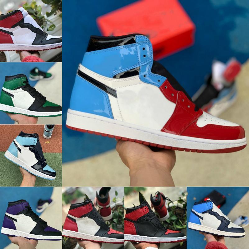 عالية 1 ثانية أحذية كرة السلة الرجال النساء bed toe أسود أخضر لعبة الملكية unc براءات المحكمة الأرجواني شيكاغو شظية حظر تويست الرياضة الأحذية V85
