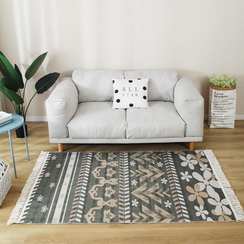 Teppiche Baumwolle Leinen Teppich für Wohnzimmer Nordic Hand Woven Schlafzimmer Teppiche Quaste Macrame Muslim Beten Matten Halle Nachtdecke