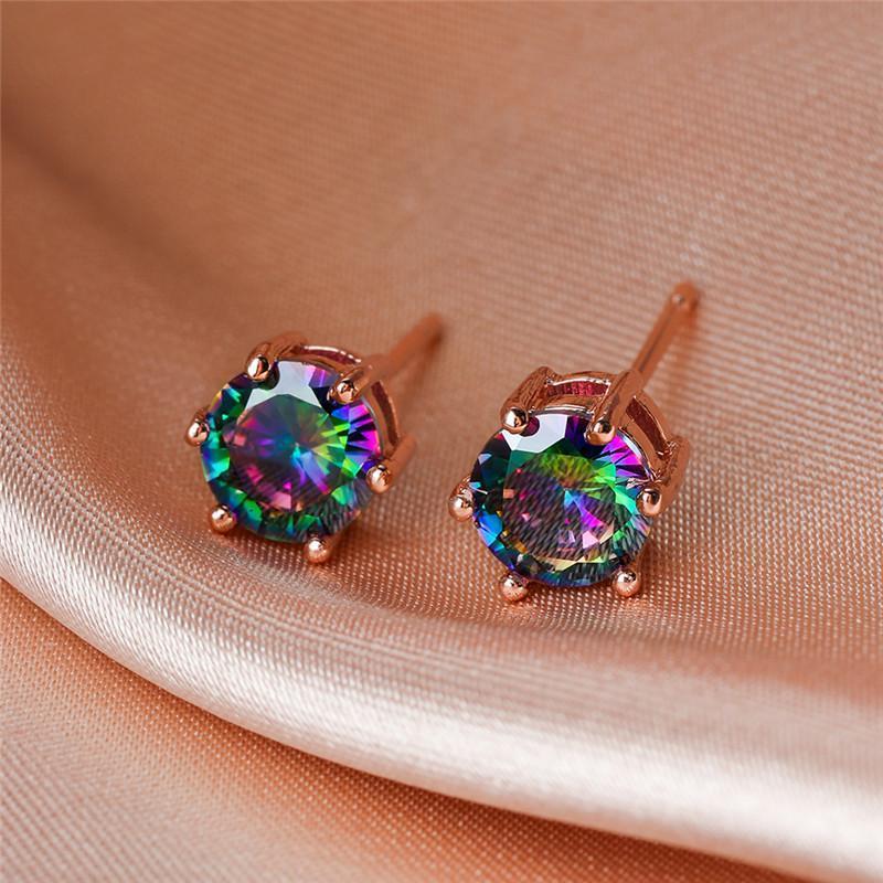 6mm rotondo piccola pietra arcobaleno Zircone orecchini per borchie per le donne vintage moda cristallo oro rosa / nero / oro / argento orecchini a colori