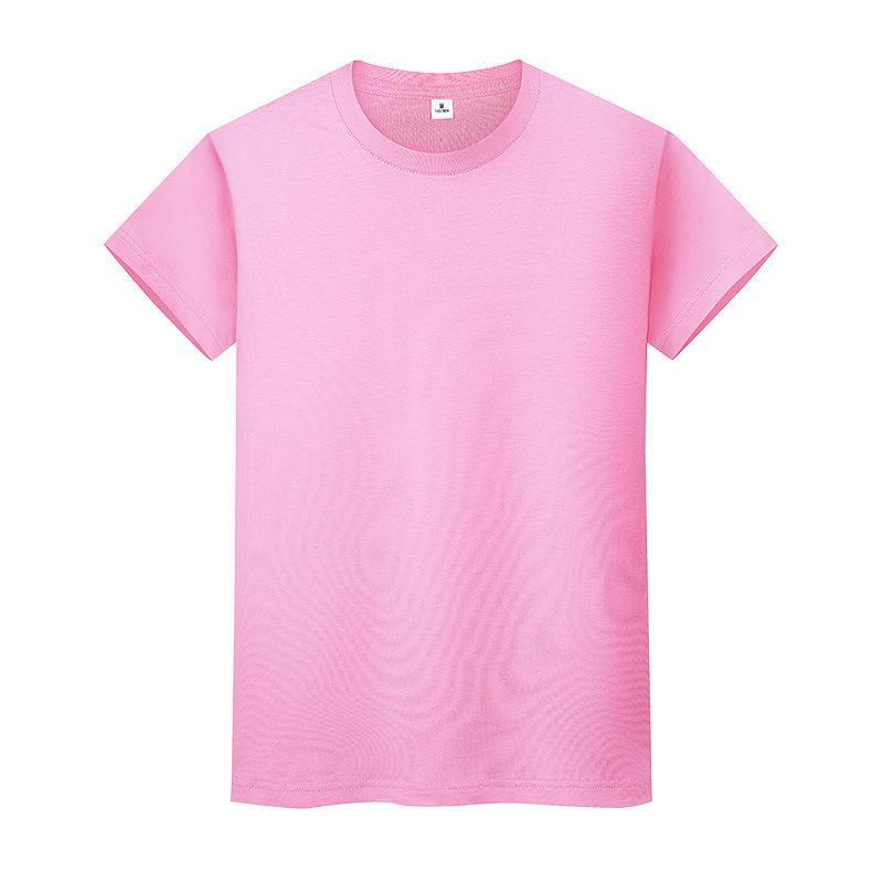 Novo Round Neck Color Sólido T-shirt de algodão de verão camisa de mangas curtas Mens de mangas curtas e mulheres meia-mangas GWJ2