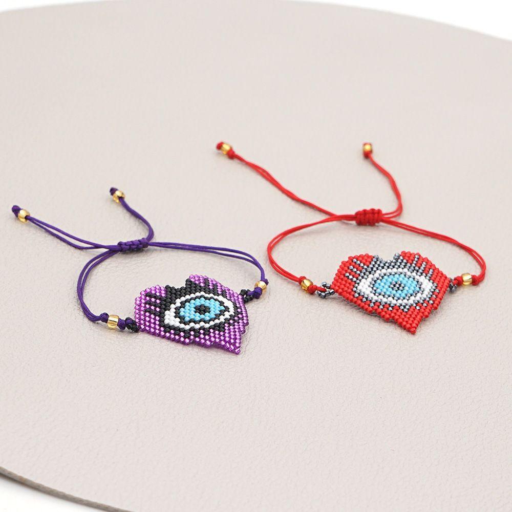 Kişiselleştirilmiş Boncuk Aşk Göz Takı Kişiselleştirilmiş Miyuki Boncuk Kadınlar için El Dokuma Bilezik