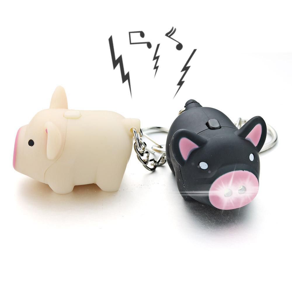 1 pc Cartoon Porco LED Chaveiros Com Som Lanterna Criativa Criativa Brinquedos Chave Chaveiros Jóias Presente Criança