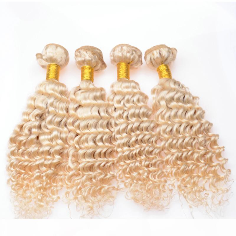 # 613 blanchiment blonde vierge péruvienne cheveux humains extensions d'une onde profonde vague ondulée blonde vierge rempine chèvre humain tissage ensemble 4pcs lot