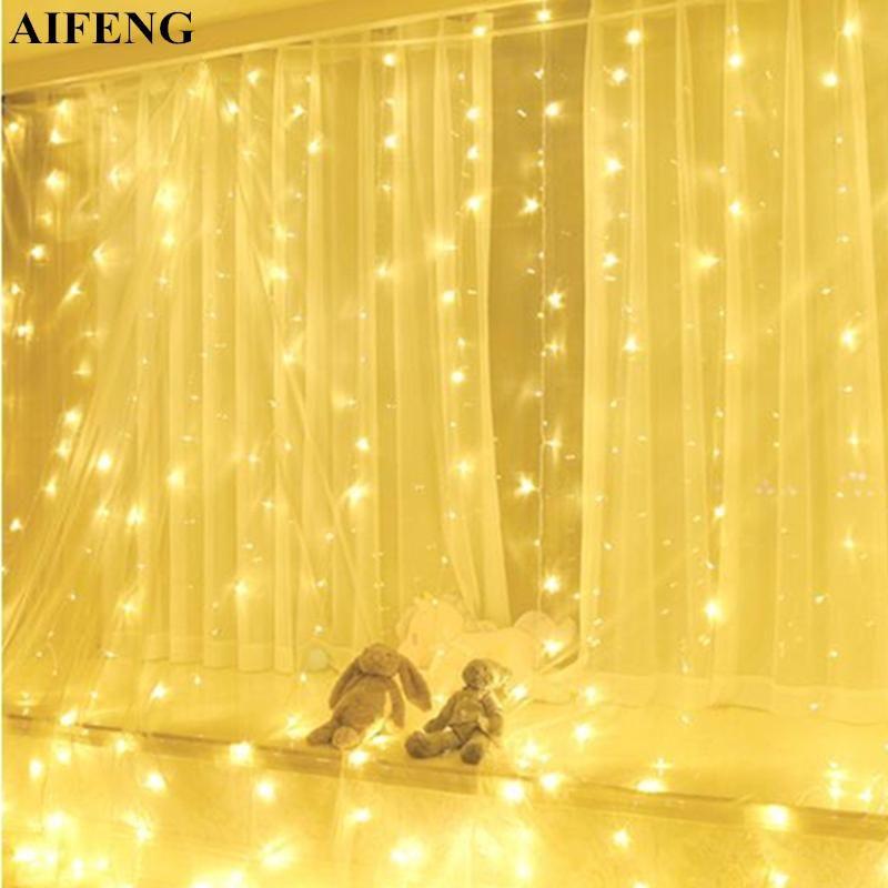 Aifeng 3MX3M 300led cortina luz prata fio fada luz de fada de natal festa de casamento festa de casamento decoração levou cortina