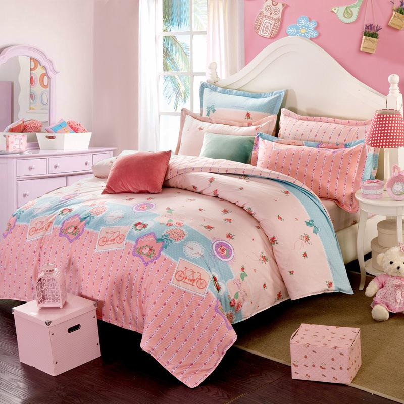 Bedding all cotton Korean Edition Set four piece cotton printed fitted sheet 2021 KV54