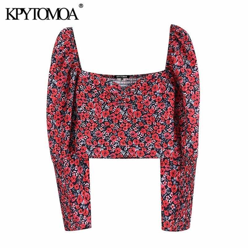 Kpytomoa Donna Moda Floral Stampa floreale Camicette da donna Vintage V Scollo a V Manica lunga Posteriore Elastico Shirt femminili Elastico Magliette Chic Tops 210303