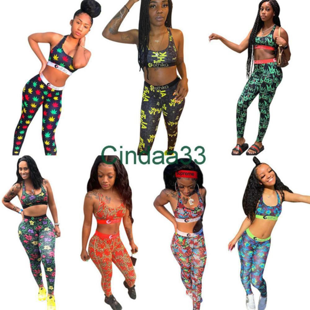 Kadın Tasarımcı 2021 Yeni Moda Mayo Ethika Yelek Yüzmek Uzun Pantolon Baskılı 2 Parça Set Patchwork Kamuflaj Mayo