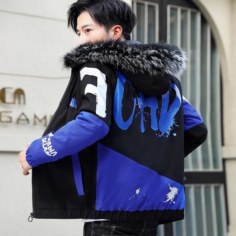 Mode hiver Veste Hommes Big Colon Cold Collier Casual Parka Outwear Épaissir Couteau à capuche chaude 210222
