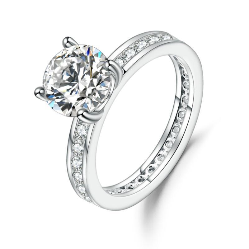 GEM'S BALLET 925 Sterling Silver Starlight Moissanite Engagement Elegant Rings For Women Fine Jewelry (2.00Ct 8mm EF Color )