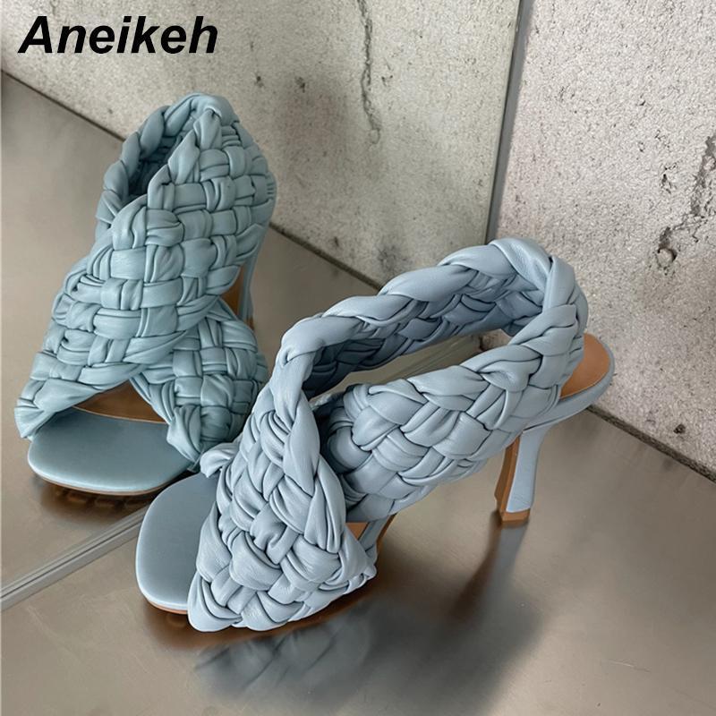Aneikeh 2021 nouvelles sandales PU estival d'été féminin talons minces pompes chaussures Solide fête de rome gladiateur gladiateur bracelet dossier bracelet blanc