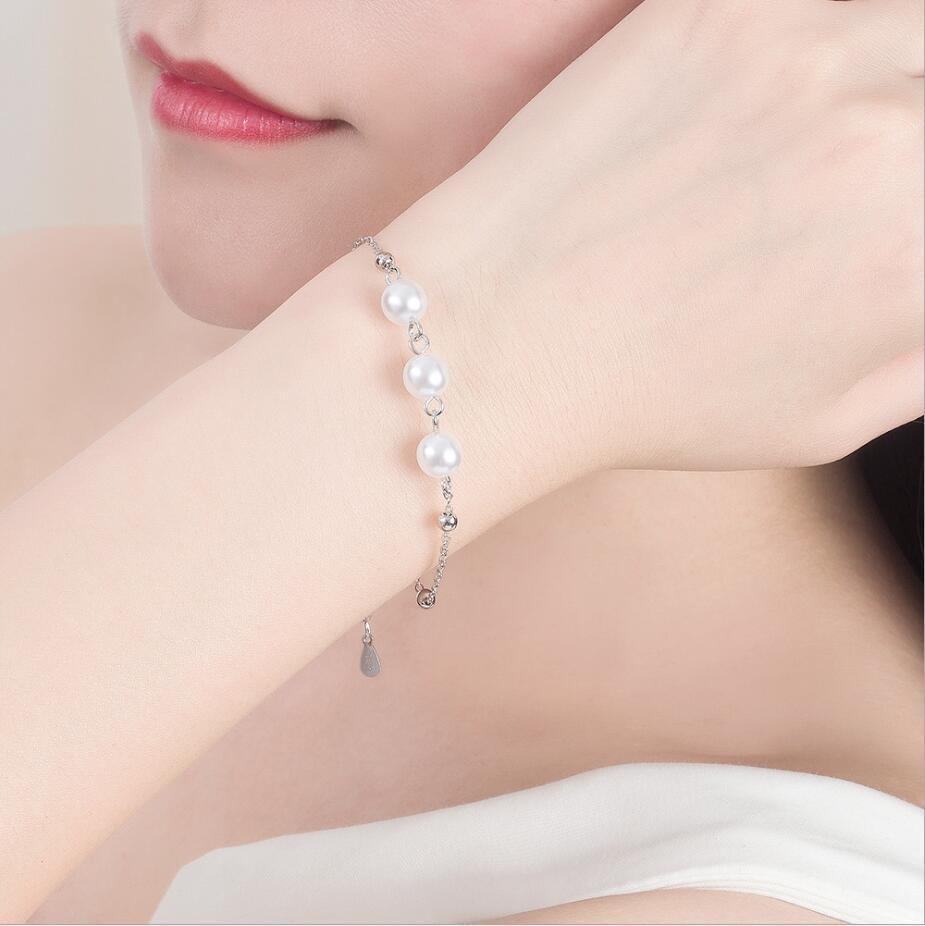 925 Стерлинговый серебристый браслет для женщин Серебряные бусины Цепочка с жемчугом Регулируемый браслет Прекрасный Ювелирные Изделия Подарок дружбы
