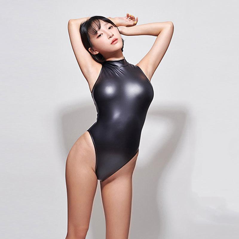 Deri Balıkçı Yaka PU Bodysuit Kadınlar Yüksek Kesim Tanga Bikini Tek Parça Mayo Bodysuits Mayo Seksi Sıkı Sukumizu 8w5t