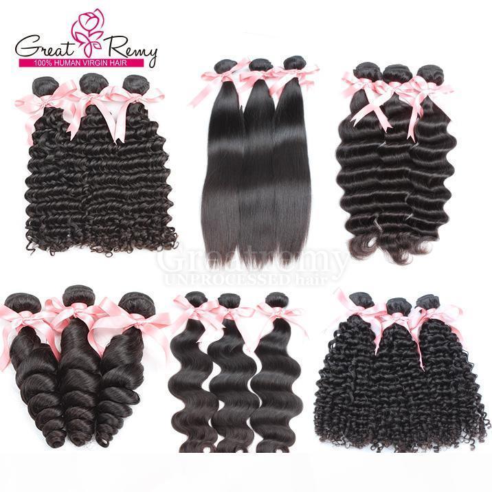 Greatremy? 3 stücke los 8A Brasilianische Haarverlängerungen Schöne Haare Weave FEFTS Natürliche Farbe Tiefe lockige gewellte Haarbündel Förderung Verkauf