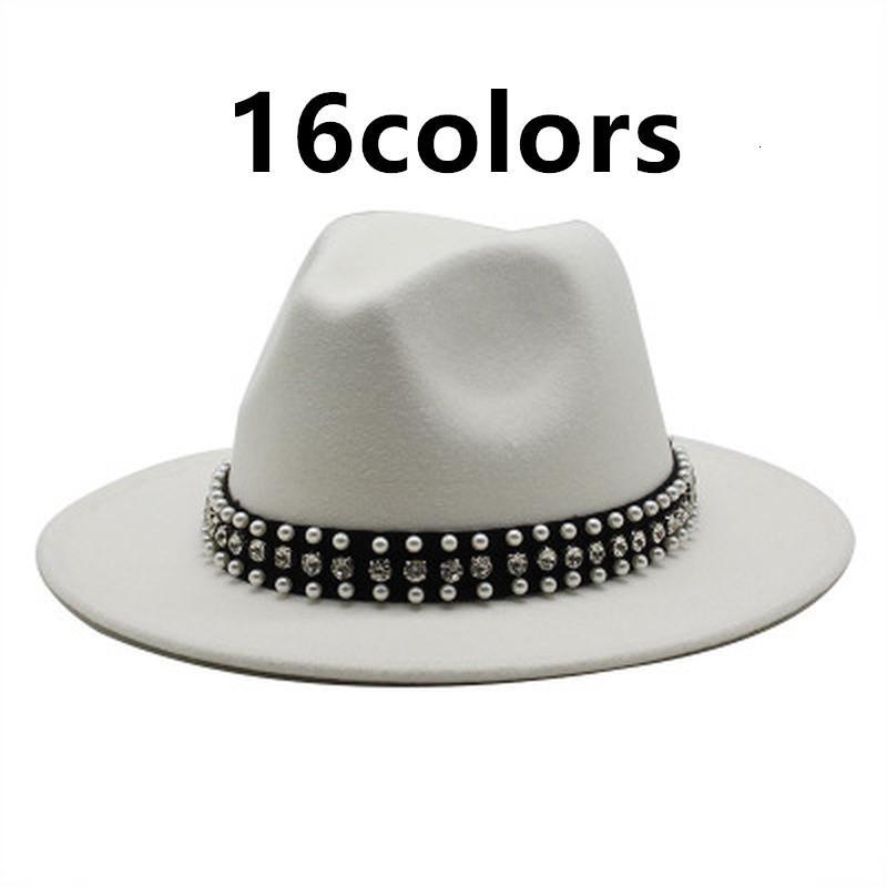 2021 New Wide Brim Jazz Caps Cintura Fibbia Partito Formale Inverno Donne Fedora Panama Trilby Cowboy Bianco Red Felt Hats 11mr