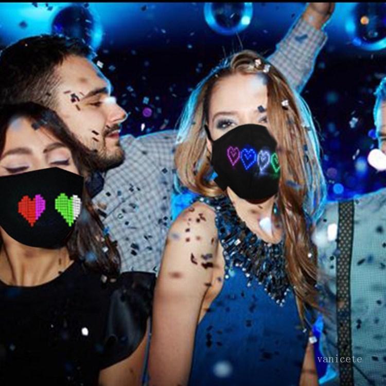 Bluetooth Программируемая светодиодная маска для лица светящийся свет для мужчин Женщины Rave Luminous Mask Rota Halloween освещает маску T2i51717
