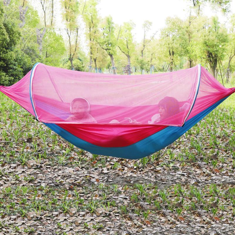 1-2 pessoa portátil casa camping ao ar livre com mosquito rede de alta resistência de alta resistência tecida pendurado cama caça dormindo balanço