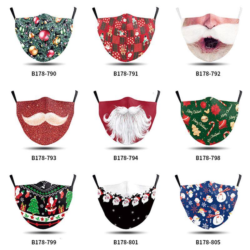 Dessin animé visage masque adulte de mode lavable Noël 2020 imprimé santa barbe PM2.5 Le masque de brume de poussière peut être inséré avec filtre