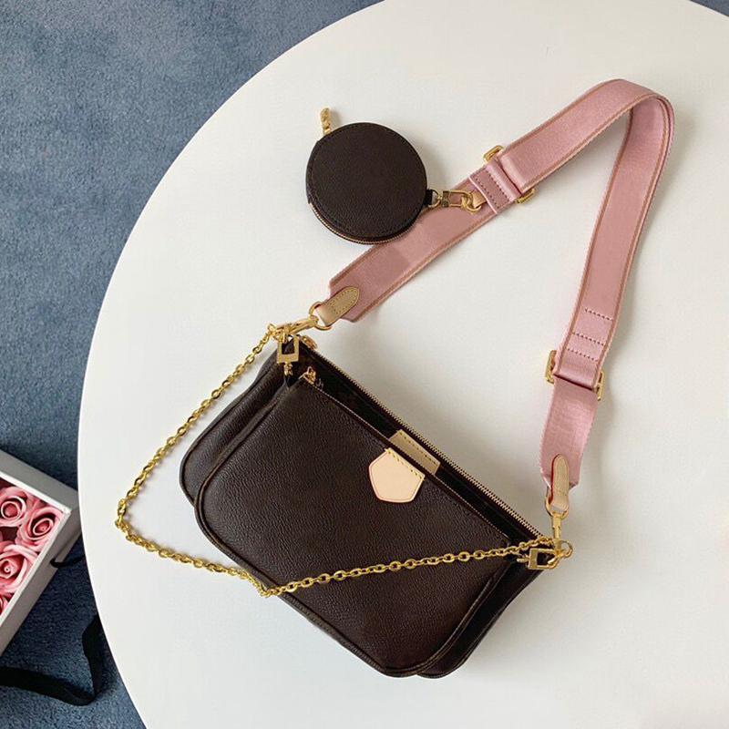 2021 جديد أكياس الأزياء الفاخرة الكتف متعددة pochette accessoires المحافظ النساء العلامة التجارية مصمم المفضلة ميني 3 قطع مجموعة مجموعات حقائب crossbody حقيبة مع صندوق