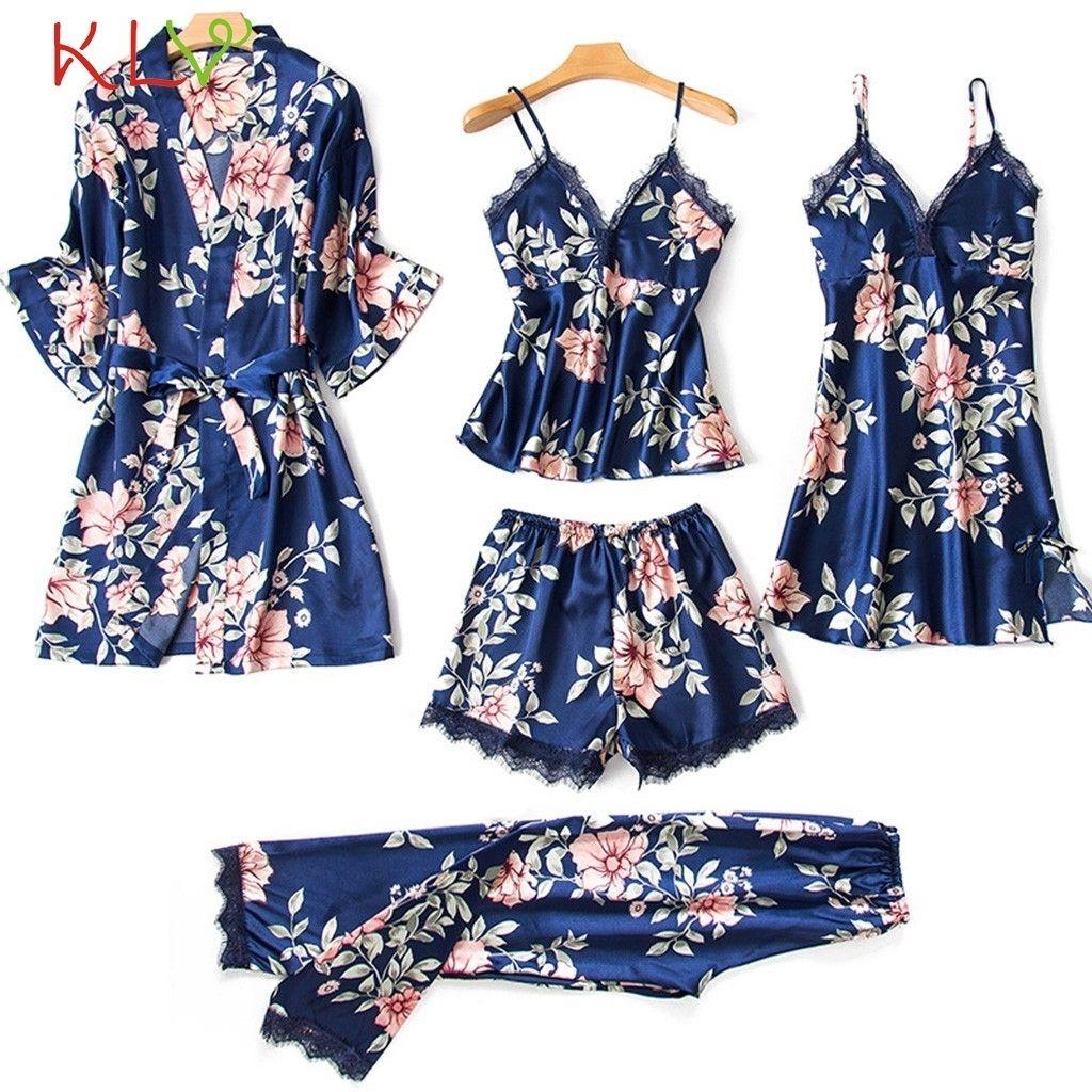 5 peças mulheres pijamas conjuntos cetim sleepwear nightwear pijama femme laço impressão floral lingerie sono lounge pijama 2020 19d y200425