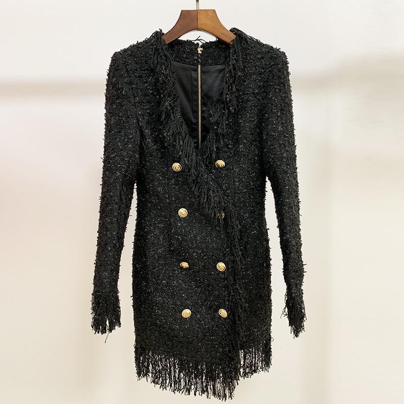 Высококачественные сексуальные женские взлетно-посадочные платья V-образным вырезом с длинным рукавом тонкий корпус женское шерстяное платье с кисточкой платья для вечеринок E38