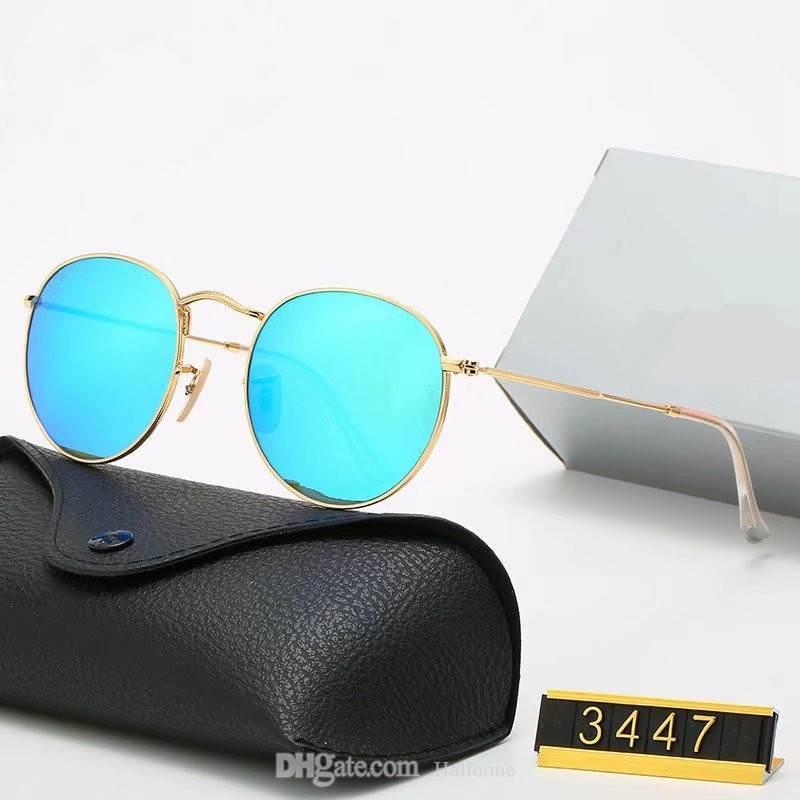 2021 Classic Design Marke Runde Sonnenbrille UV400 Eyewear Metall Gold Rahmen Bans Brille Männer Frauen Spiegel Glas Linse Sonnenbrille mit Kiste