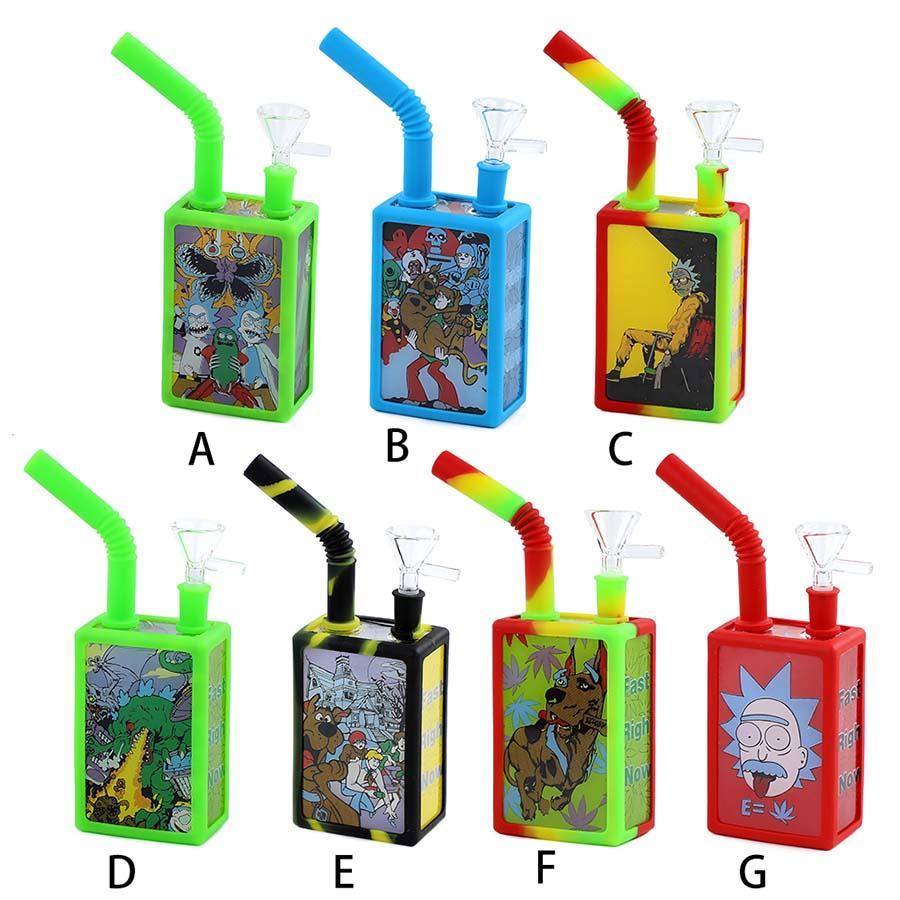 Getränkebox Wasserleitung Silikon Rauchrohre Tragbare und langlebige Waterbong Shisha Hukahn Tabacco Rauch Zubehör Farben Optional
