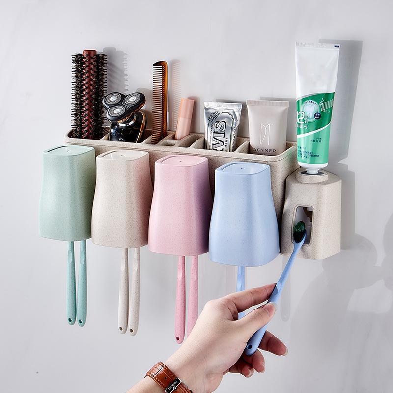 Diş macunu diş fırçası tutucu çok fonksiyonlu depolama alanı tasarruf alanı uygun banyo aksesuarları otomatik diş macunu dağıtıcı Y0220