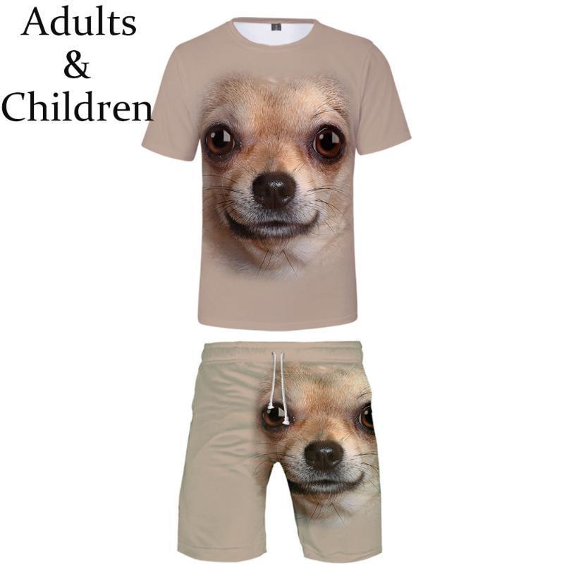 남성용 트랙스 캐주얼 적합한 동물 개 힙합 티셔츠 + 해변 반바지 남자 여름 3D 인쇄 소년 소녀 2 피스 쿨 세트