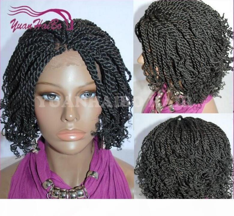 Sıcak Satış Kısa Kinky Büküm Örgülü Dantel Ön Peruk Tam El Bağlı Sentetik Saç Peruk Afrika Amerikalılar için Kıvırcık İpuçları ile