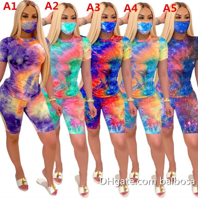 إمرأة رياضية الصيف 2 قطعة ملابس مجموعات مع قناع الوجه التعادل صبغ تي شيرت الأزياء ملابس السائق السراويل عارضة الملابس