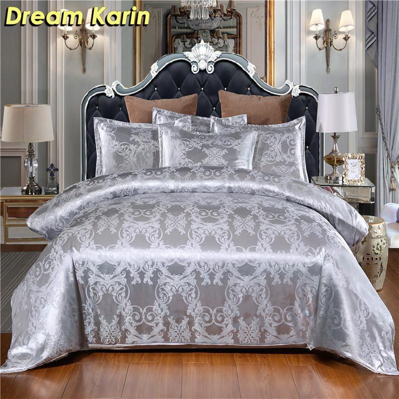 """Luxury Jacquard роскошные постельные принадлежности набор цветочные напечатанные напечатанные наборы односпальные наборы с двойной двуспальной кроватью размера """"king-size"""" Современная постельное белье 210309"""