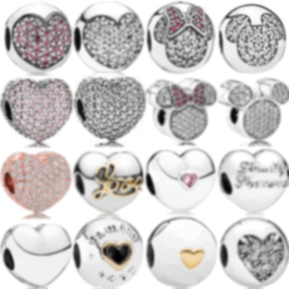 2020 100% 925 esterlina prata charme pavé coração pavimentar de amor rosa família estável e insígnia coração coração de clipe de inverno