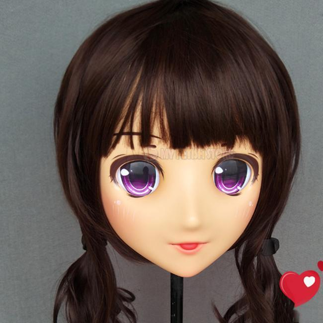 Festa Máscaras (Cherry-02) Fêmea Menina Doce Resina Meia Cabeça Kigurumi Crossdress Cosplay Japonês Anime Função Lolita boneca Máscara com olhos e peruca
