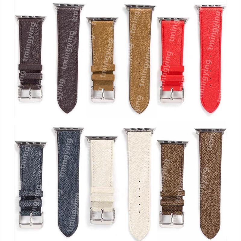 탑 디자이너 애플 시계 밴드 42mm 38mm 40mm 44mm iwatch 1 2 3 4 5 6 7 밴드 가죽 팔찌 패션 손목 밴드 인쇄 줄무늬 시계 밴드