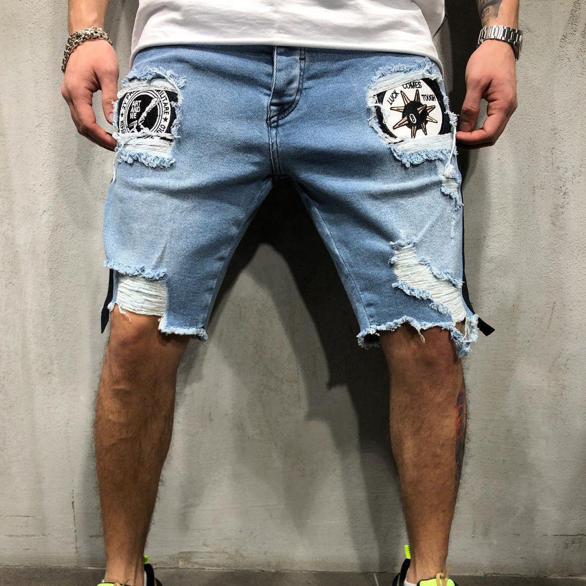 2021 Новые Мужские дыры Вышитые короткие джинсы тонкие долевые длины колена мужские повседневные тонкие летние джинсовые штаны классические GNS4