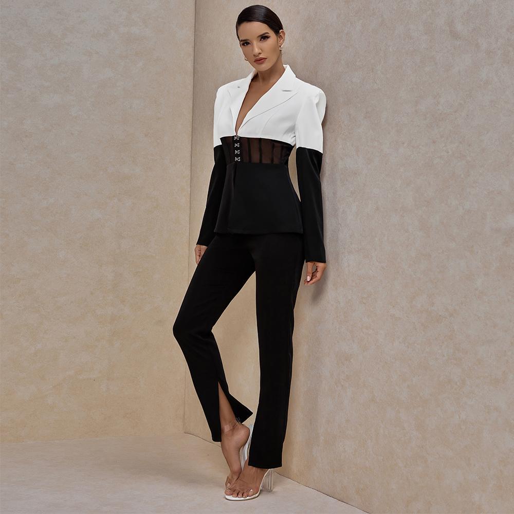 Suit Ocstrade Kadınlar Blazer Pantolon Kulübü İki Kıyafetler Pist Giysileri 2021 Güz Siyah Ve Beyaz 2 Piece STP2