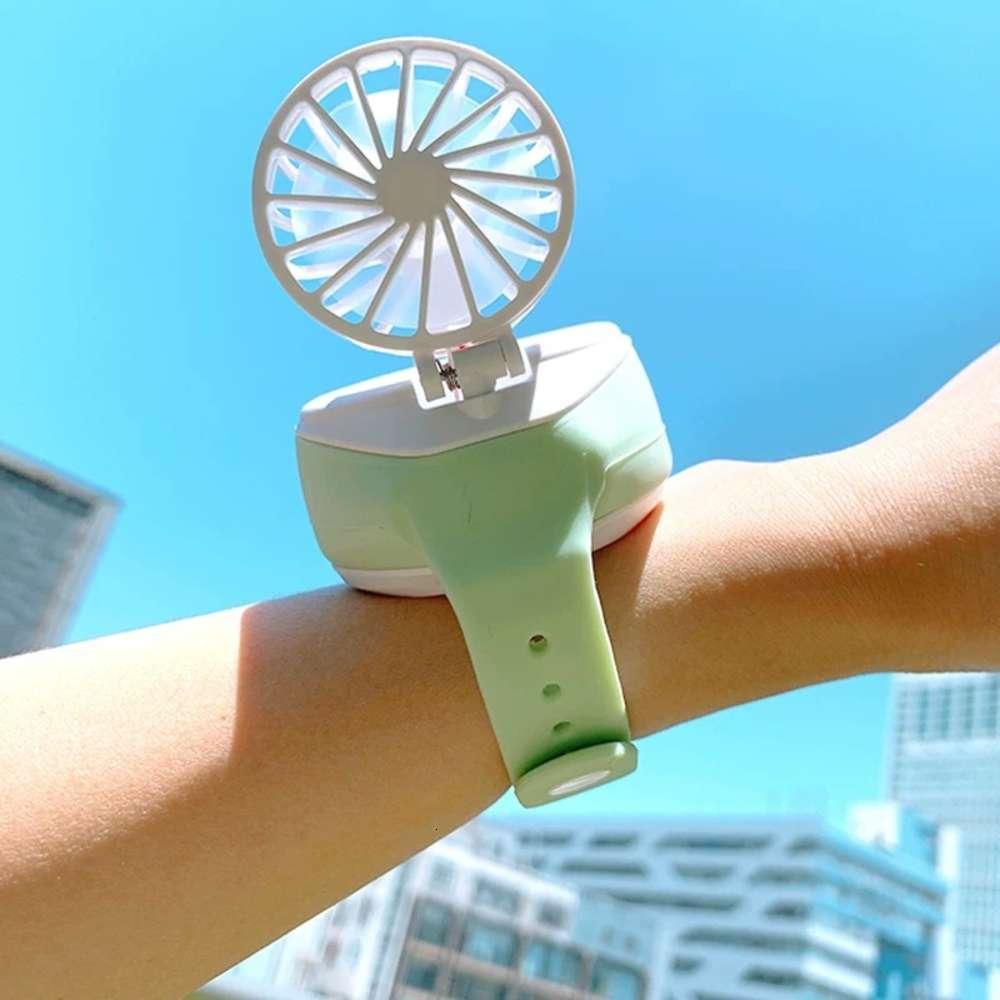 Regarder USB Charging Mini Portable Fan 61 Bureau-cadeau de la Journée des enfants Collier blanc moins 1