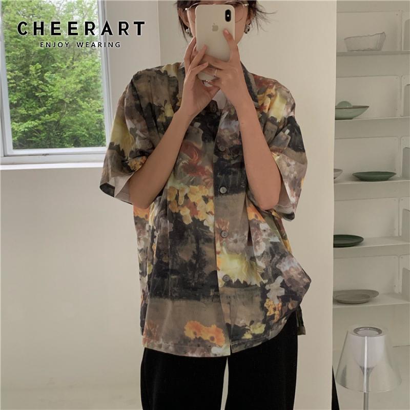 Women's Blouses Vintage Oil Painting Women Shirts Summer Short Sleeve Blouse Button Up Collar Shirt Korean Flower Shirt Women 2021