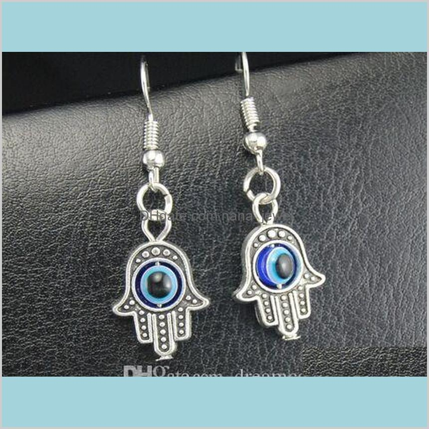 20pair plata plateado azul ojo ojo cuello pendiente pendientes encantos pendientes pendientes oreja stud hecho a mano DIY joyería FFJDF M7L0V
