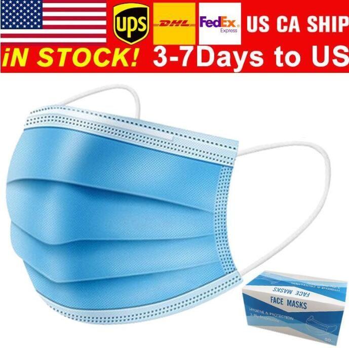 Livraison Gratuite 3-7 Jours aux États-Unis Masques de visage jetables avec boucle d'oreille élastique 3 plis respirant pour bloquer la poussière air anti-pollution masque