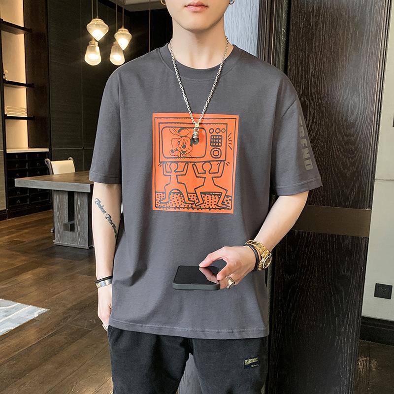 Kısa 2021 Yaz Kore Gençlik Moda Orta Kollu Rahat T-shirt Erkek Giyim