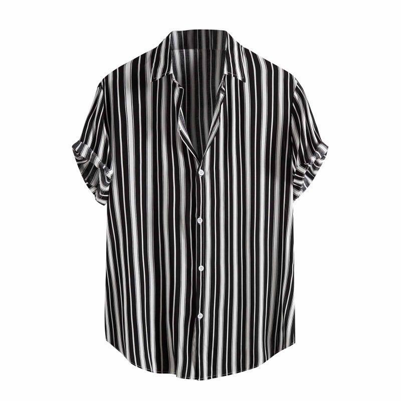 Männer Lässige Hemden Sommer Herrenhemd Gestreifter Druck Kurzarm Hawaiianer Stehkragen Streifen Coole Männer Kleid Männliche Kleidung Tops