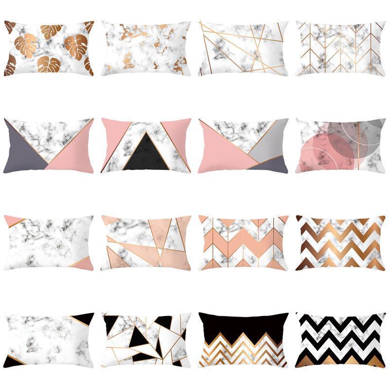 Kissen / Dekorative Kissen Marmor Textur Rechteckige Taille Kissenbezug Pfirsich Velvet Digital Print Office