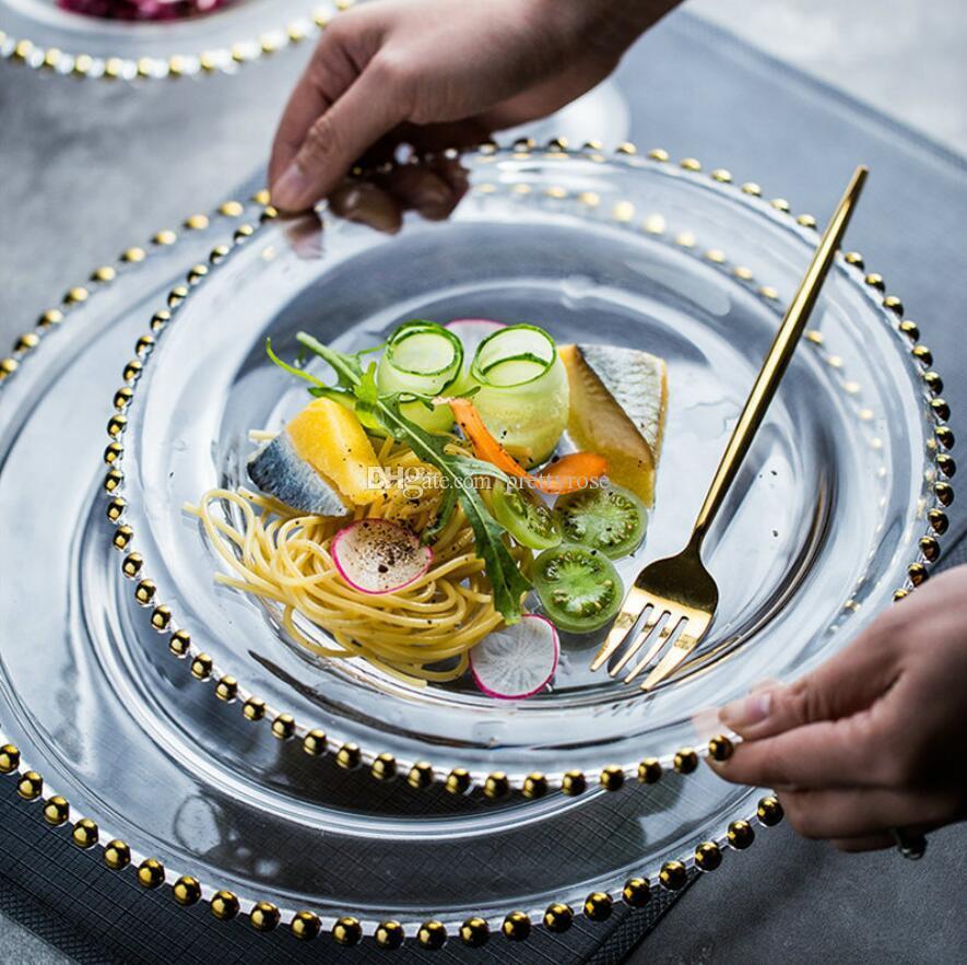 Europäische stilperle kante lagerungsfach kreative transparente früchte platte glas schmuck platte home desktop dekorative fachgerichte 21 cm