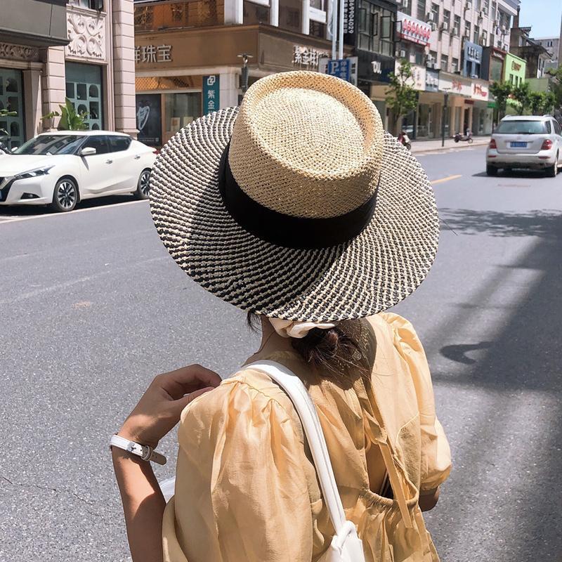 와이드 브림 모자 여름 여성 밀짚 모자 여성 색상 차단 태양 손으로 짠 유니섹스 통기성 해변